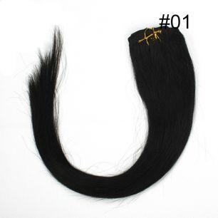 Натуральные волосы на заколках №001 Черный (45 см) - 7 заколок
